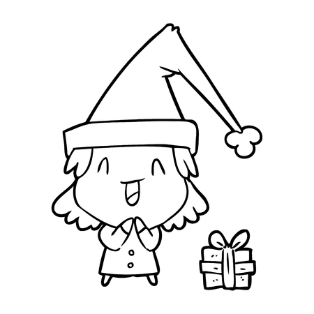 Hand drawn girl wearing Christmas hat