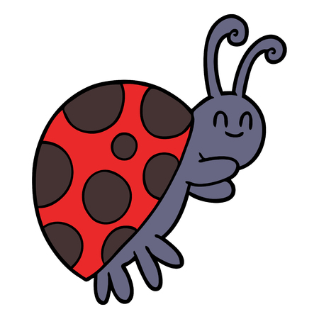 Hand drawn cute cartoon ladybug