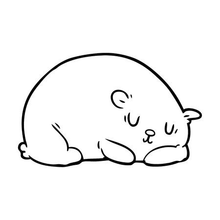 Hand drawn sleepy polar bear Illustration