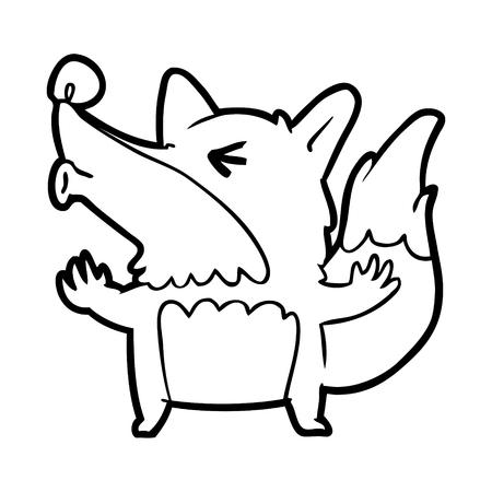 Hand drawn Halloween werewolf howling