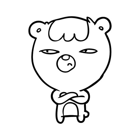 Hand drawn annoyed bear with arms crossed