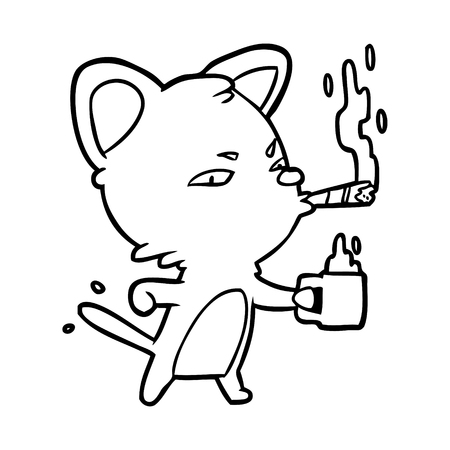 Hand drawn serious business cat with coffee and cigar Illusztráció