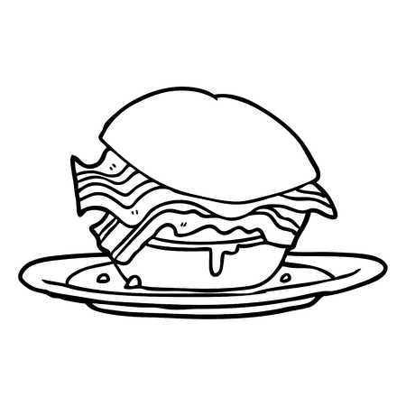 Panino colazione pancetta incredibilmente gustoso disegnato a mano con formaggio Archivio Fotografico - 95063287