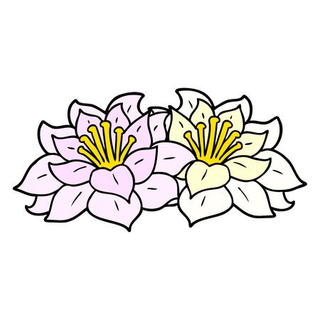 Hand drawn cartoon flowers Иллюстрация