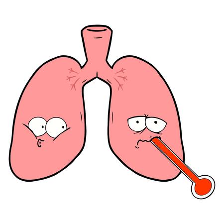 cartoon unhealthy lungs Illustration