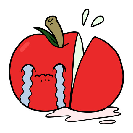 cartoon sad sliced apple