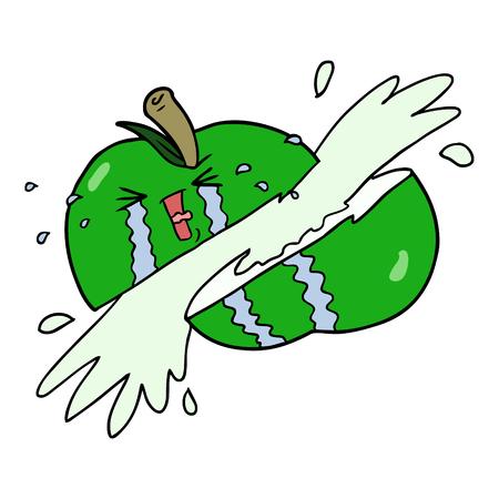 漫画スライスリンゴ  イラスト・ベクター素材