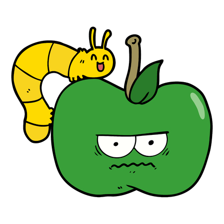 cartoon grumpy apple and caterpillar