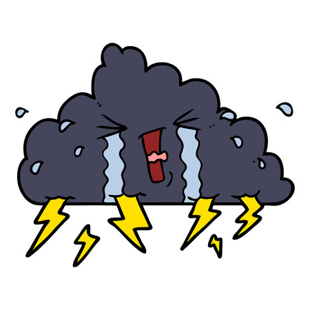 cartoon thundercloud illustration design. Çizim