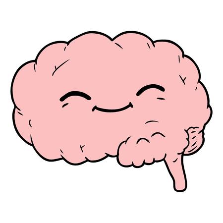 cartoon brain illustration Ilustração