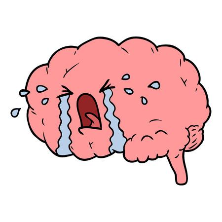 cartoon brain crying Illustration