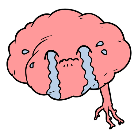 cartoon brain with headache