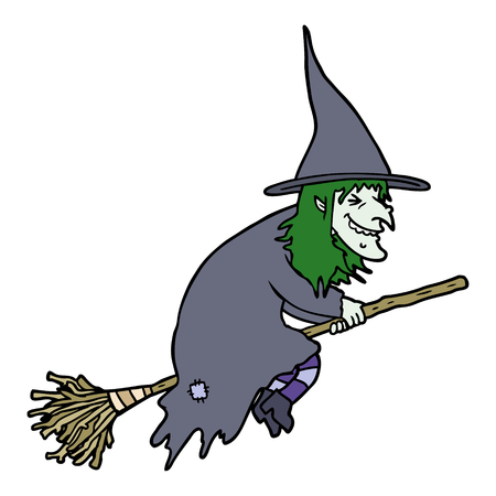 cartoon witch on broom