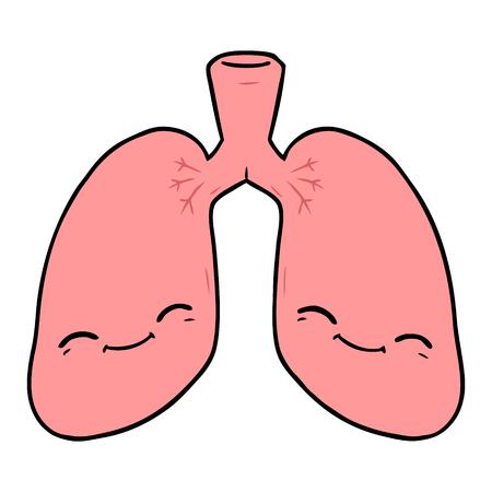 cartoon lungs illustration design. 向量圖像