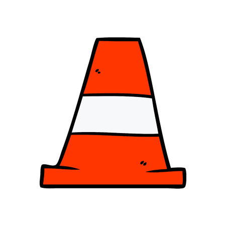cartoon road traffic cone 矢量图像