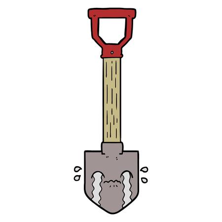 cartoon crying shovel Иллюстрация