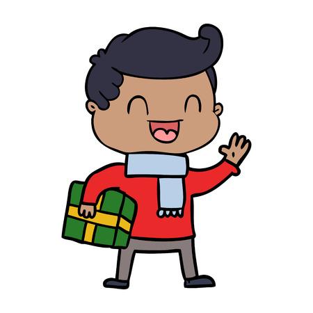 cartoon laughing man holding gift Illusztráció