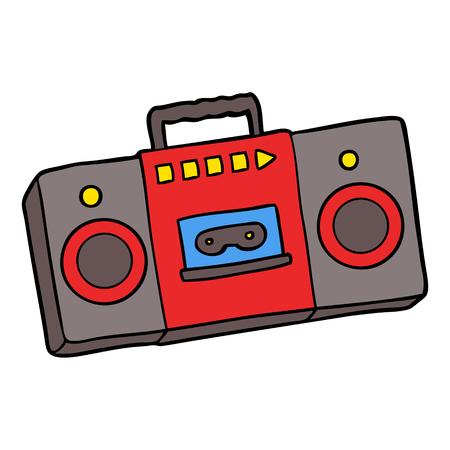 만화 레트로 카세트 테이프 플레이어