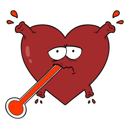 cartoon ongezond hart