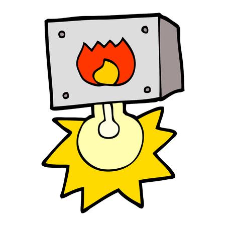 Cartoon flashing fire warning light isolated on white background
