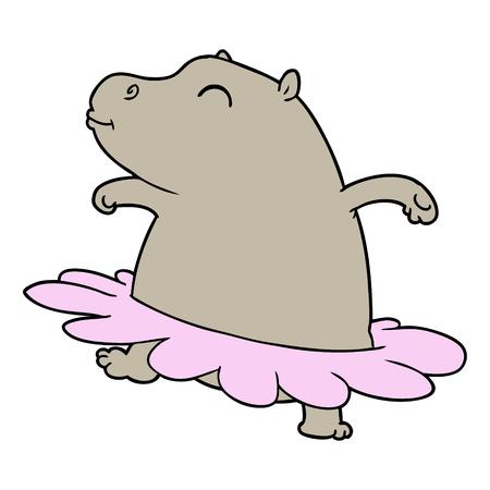 Cartoon hippo ballerina isolated on white background
