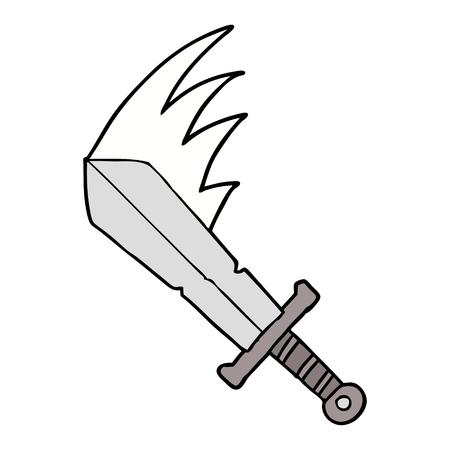 cartoon swinging sword Vector illustration.