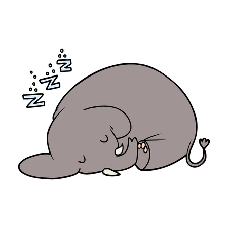 cartoon sleeping elephant Vector illustration.