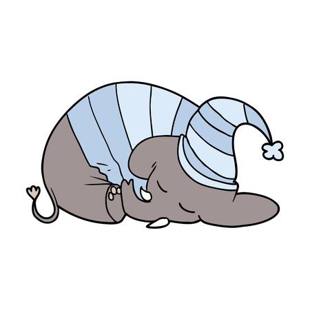 Cartone animato elefante addormentato in pigiama Archivio Fotografico - 94931673