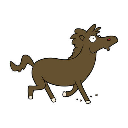 cartoon running horse Vector illustration.