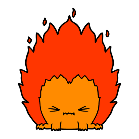 cartoon fire creature Vector illustration.