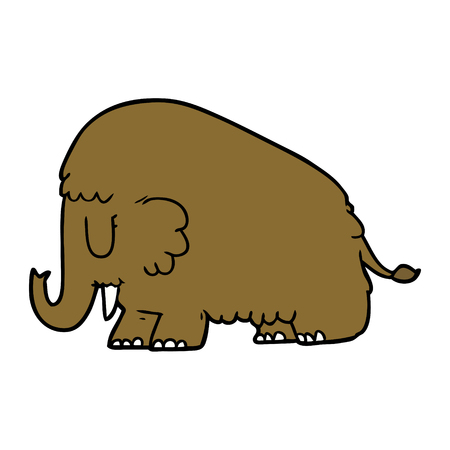 cartoon mammoth Vector illustration.