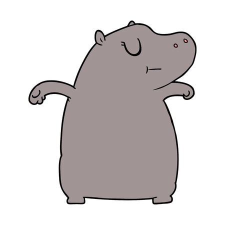 cartoon hippo Vector illustration. Stock Illustratie