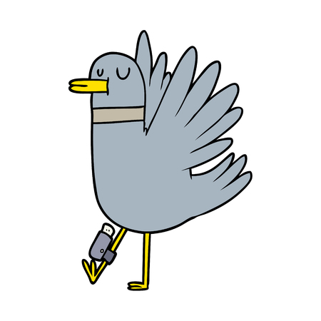 cartoon flapping wood pigeon Banque d'images - 94931727