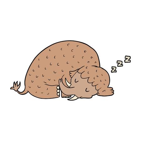 漫画マンモス睡眠ベクトルイラスト。