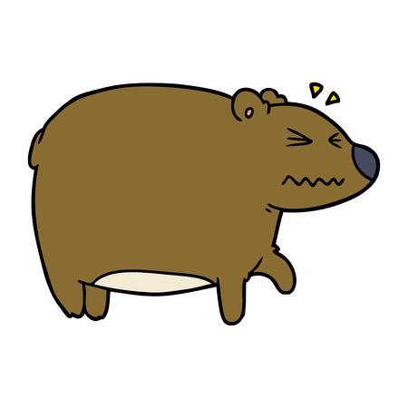 아픈 머리를 가진 만화 곰