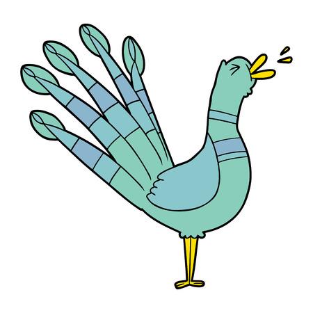 cartoon crowing peacock Vector illustration.