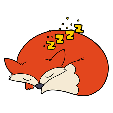 cartoon sleeping fox Vector illustration.