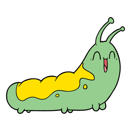 funny cartoon caterpillar Vector illustration.