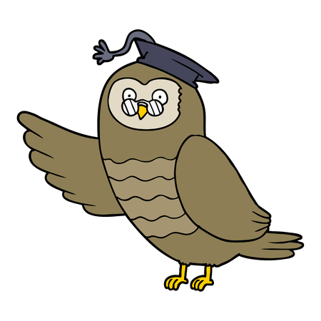 cartoon owl graduate Vector illustration. Illustration