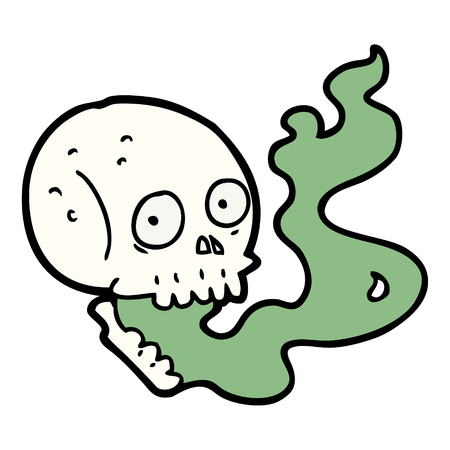 cartoon haunted skull Çizim
