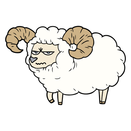 cartoon angry ram