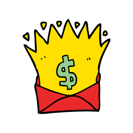cartoon envelope with money sign Illustration