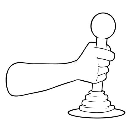 cartoon hand pulling lever Illustration