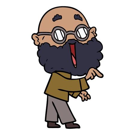 cartoon joyful man with beard pointing finger