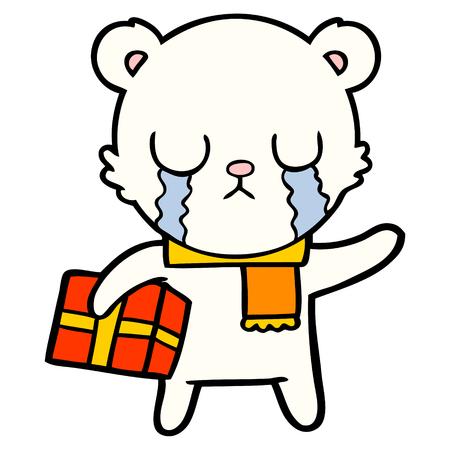 crying polar bear cartoon with christmas gift Illustration