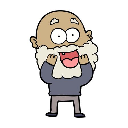 cartoon crazy happy man with beard gasping Banco de Imagens - 94937559