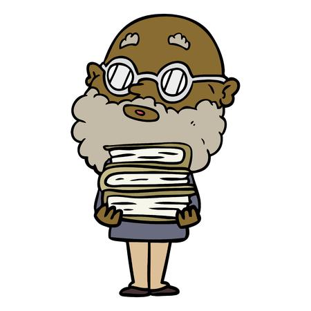 cartoon curious man with beard and glasses 向量圖像
