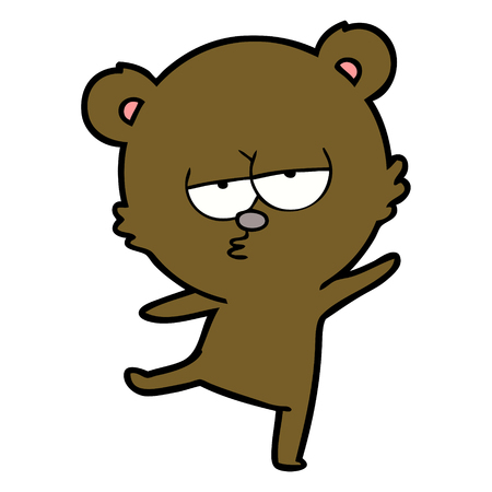 bored bear cartoon Illustration