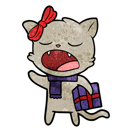 cartoon cat with christmas present