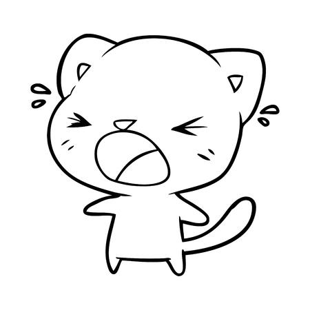 cute cartoon cat crying Illustration